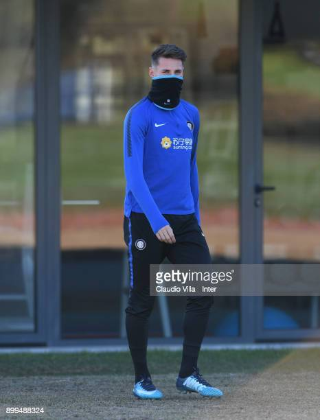 Andrea Pinamonti of FC Internazionale looks on during the FC Internazionale training session at Suning Training Center at Appiano Gentile on December...