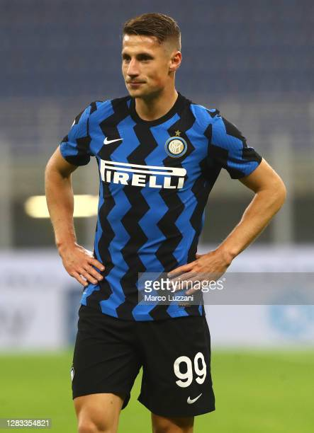 Andrea Pinamonti of FC Internazionale looks on during the Serie A match between FC Internazionale and Parma Calcio at Stadio Giuseppe Meazza on...