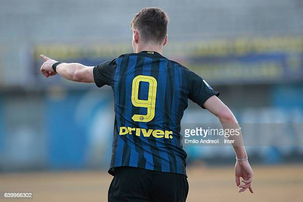 Andrea Pinamonti of FC Internazionale Milano celebrates his goal during the Primavera Tim Cup juvenile match between FC Internazionale and AS Roma at...
