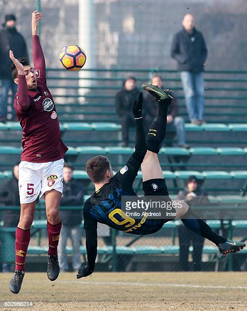 Andrea Pinamonti of FC Internazionale Milano in action during the Primavera Tim juvenile match between FC Internazionale and US Salernitana at Centro...