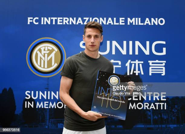Andrea Pinamonti of FC Internazionale poses for a photo prior to the FC Internazionale training session at the club's training ground Suning Training...
