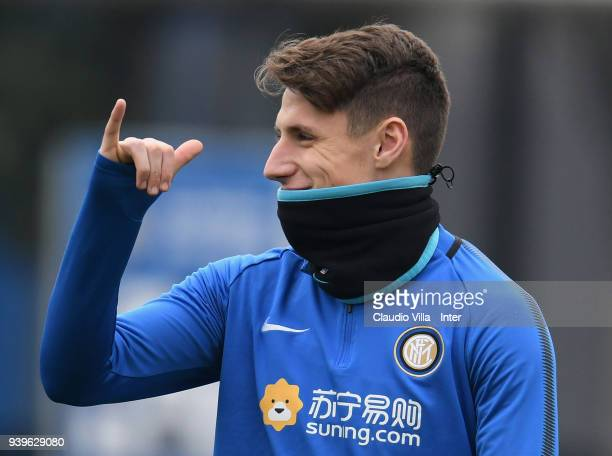 Andrea Pinamonti of FC Internazionale reacts during the FC Internazionale training session at the Angelo Moratti Sports Centreer in memory of Angelo...