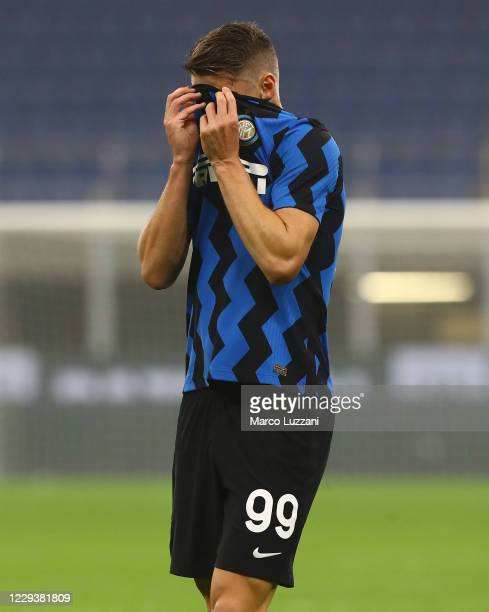 Andrea Pinamonti of FC Internazionale reacts during the Serie A match between FC Internazionale and Parma Calcio at Stadio Giuseppe Meazza on October...