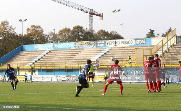 Andrea Pinamonti of FC Internazionale scores his goal on free kick during the UEFA Youth League Domestic Champions Path match between FC...