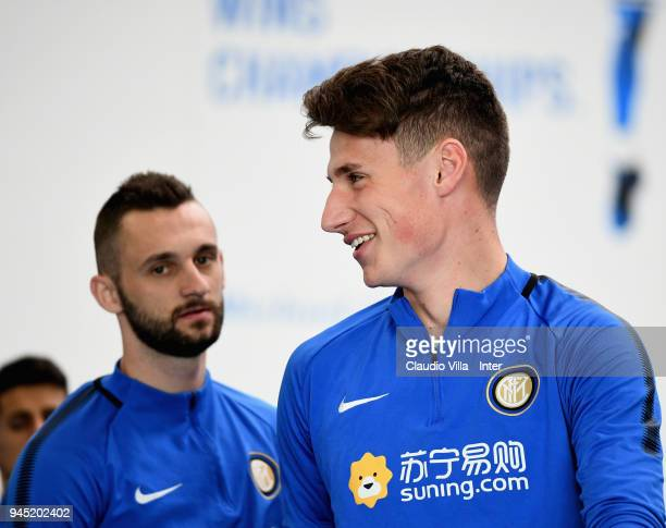 Andrea Pinamonti of FC Internazionale smiles during the FC Internazionale training session at the club's training ground Suning Training Center in...