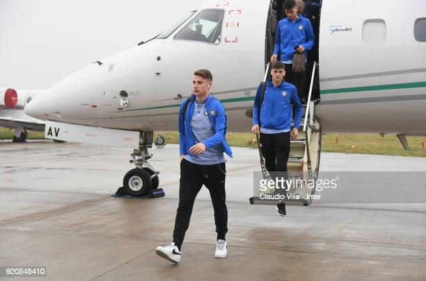 Andrea Pinamonti of FC Internazionale U19 arrives to Manchester Airport on February 19 2018 in Manchester England