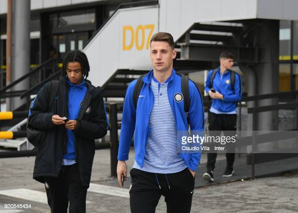 Andrea Pinamonti of FC Internazionale U19 departs to Manchester on February 19 2018 in Milan Italy