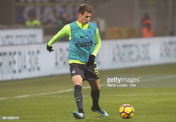Andrea Pinamonti of FC Internazionale warms up ahead of the TIM Cup match between FC Internazionale and Pordenone at Stadio Giuseppe Meazza on...