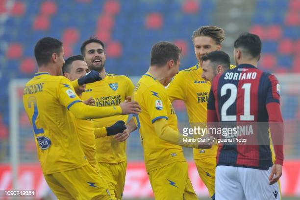 Andrea Pinamonti of Frosinone Calcio celebrates after scoring his team's third goal during the Serie A match between Bologna FC and Frosinone Calcio...