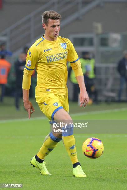 Andrea Pinamonti of Frosinone Calcio in action during the serie A match between FC Internazionale and Frosinone Calcio at Stadio Giuseppe Meazza on...