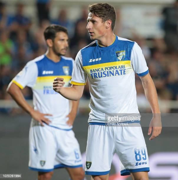 Andrea Pinamonti of Frosinone Calcio looks on during the serie A match between Atalanta BC and Frosinone Calcio at Stadio Atleti Azzurri d'Italia on...