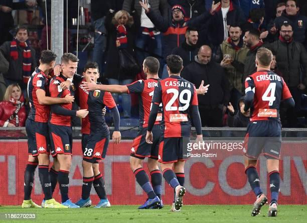 Andrea Pinamonti of Genoa CFC celebrates with teammates after score his second goal during the Coppa Italia match between Genoa CFC and Ascoli Calcio...