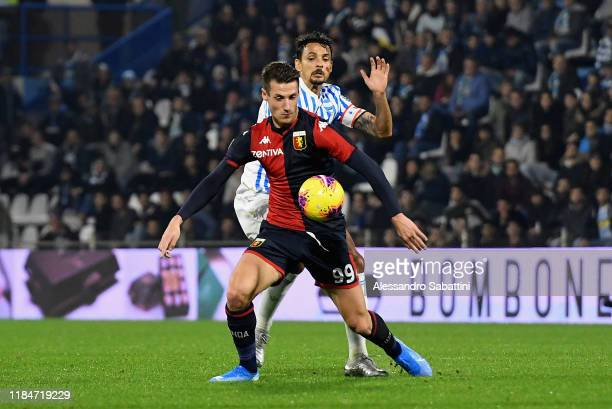 Andrea Pinamonti of Genoa CFC competes for the ball with Felipe of SPAL during the Serie A match between SPAL and Genoa CFC at Stadio Paolo Mazza on...