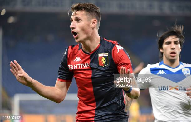 Andrea Pinamonti of Genoa CFC gestures during the Serie A match between Genoa CFC and Brescia Calcio at Stadio Luigi Ferraris on October 26, 2019 in...