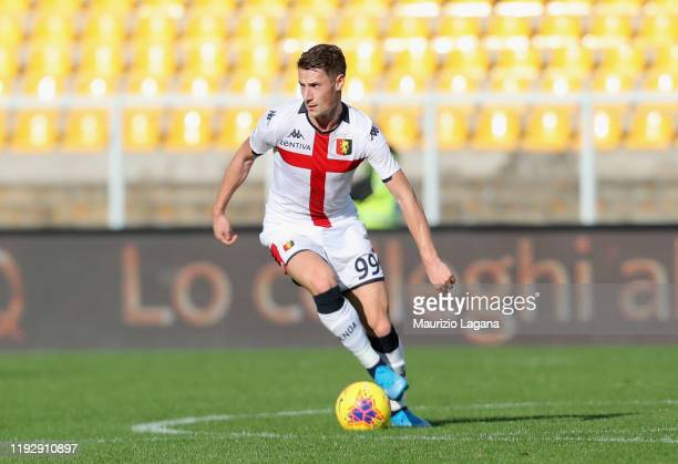 Andrea Pinamonti of Genoa during the Serie A match between US Lecce and Genoa CFC at Stadio Via del Mare on December 8, 2019 in Lecce, Italy.
