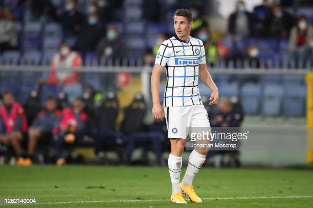 Andrea Pinamonti of Internazionale during the Serie A match between Genoa CFC and FC Internazionale at Stadio Luigi Ferraris on October 24, 2020 in...