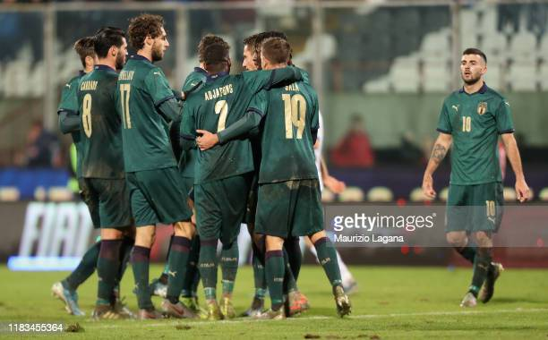 Andrea Pinamonti of Italy celebrates after scoring his team's second goal during the UEFA U21 European Championship Qualifier match between Italy and...