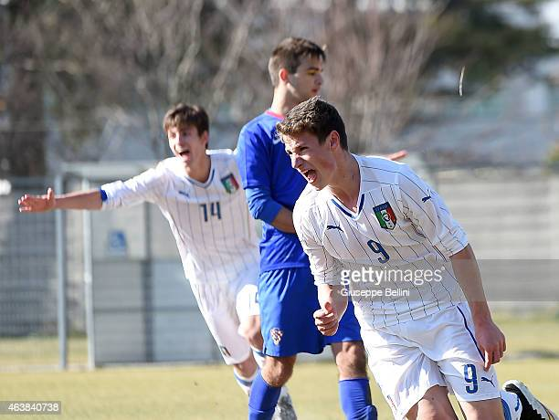 Andrea Pinamonti of Italy celebrates after scoring the goal 20 during the international friendly match between Italy U16 and Croatia U16 on February...