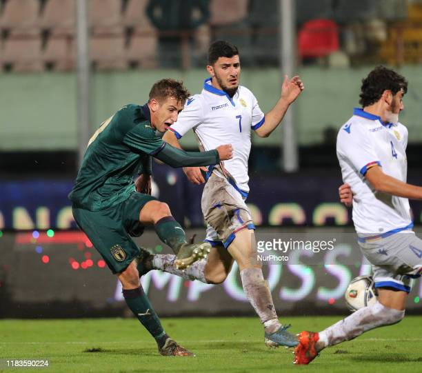 Andrea Pinamonti of Italy during the UEFA U21 European Championship Qualifier match between Italy and Armenia at Stadio Angelo Massimino on November...