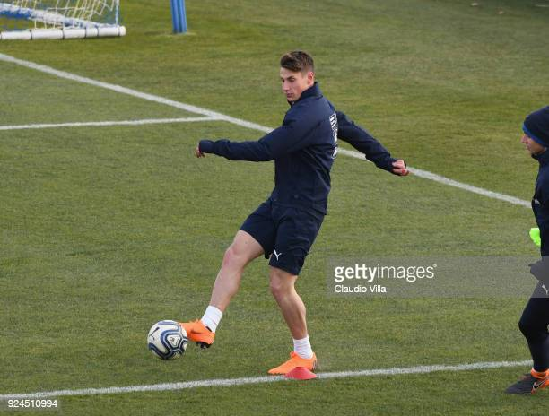 Andrea Pinamonti of Italy in action during a training session at Italy club's training ground at Coverciano at Coverciano on February 26 2018 in...