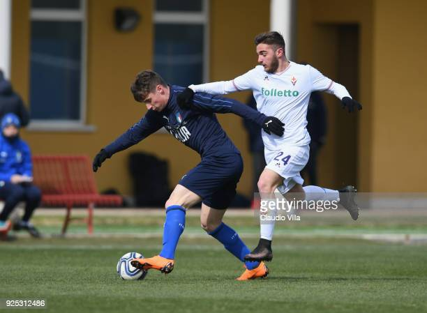 Andrea Pinamonti of Italy in action during the friendly match between Italy and Fiorentina U19 at Coverciano on February 28 2018 in Florence Italy