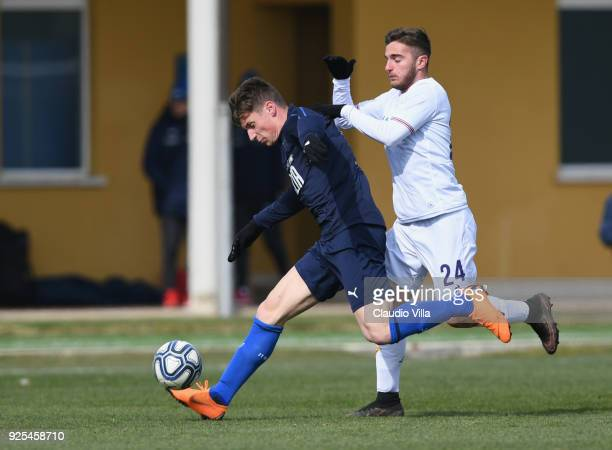 Andrea Pinamonti of Italy in action during the frienldy match between Italy and Fiorentina U19 at Coverciano on February 28 2018 in Florence Italy
