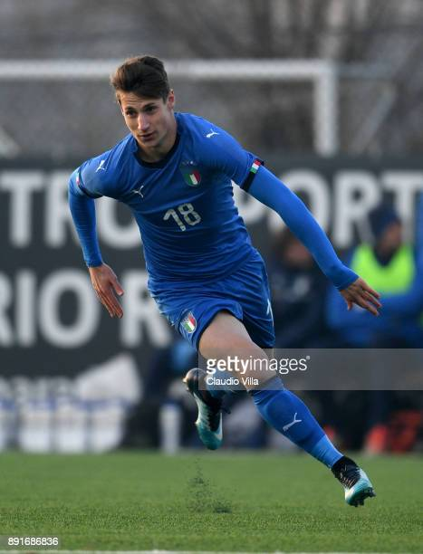 Andrea Pinamonti of Italy in action during the international friendly match between Italy U19 and Finland U19 on December 13 2017 in Brescia Italy
