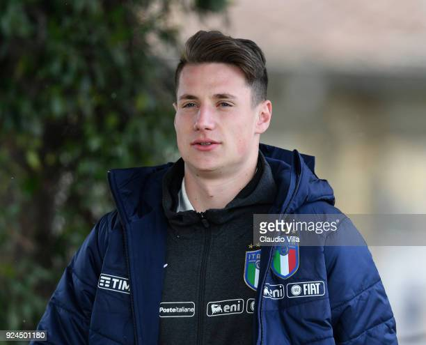 Andrea Pinamonti of Italy looks on during a training session at Italy club's training ground at Coverciano at Coverciano on February 26 2018 in...