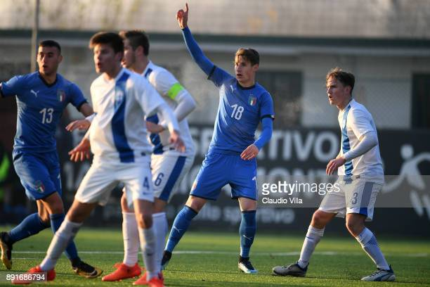 Andrea Pinamonti of Italy reacts during the international friendly match between Italy U19 and Finland U19 on December 13 2017 in Brescia Italy
