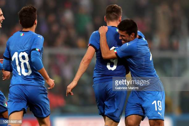 Andrea Pinamonti of Italy U20 celebrates with teammates after scoring a goal during the 8 Nations Cup match between Italy U20 and Germany U20 on...