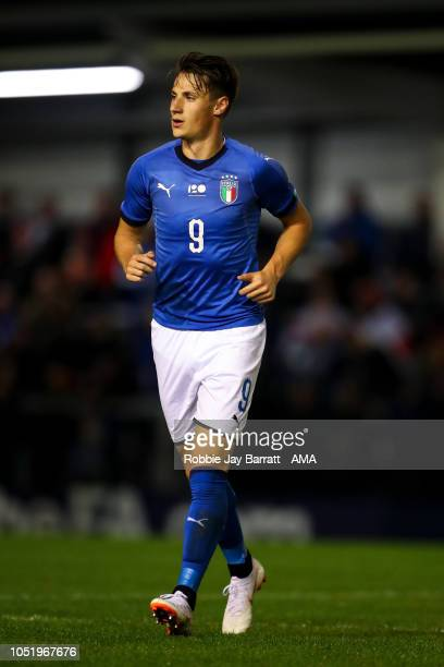 Andrea Pinamonti of Italy U20 during the Under 20 International Friendly match between England and Italy at Mill Farm on October 11 2018 in Blackpool...