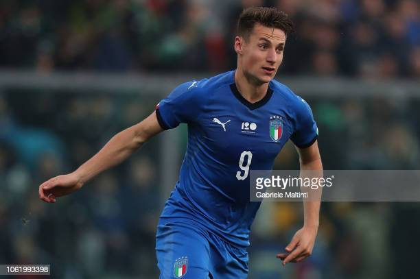 Andrea Pinamonti of Italy U20 in action during the 8 Nations Cup match between Italy U20 and Germany U20 on November 15 2018 in Sassuolo Italy