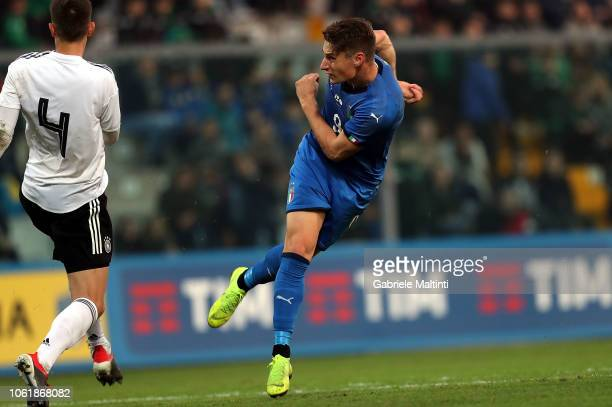 Andrea Pinamonti of Italy U20 scores a goal during the 8 Nations Cup match between Italy U20 and Germany U20 on November 15 2018 in Sassuolo Italy