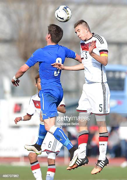 Andrea Pinamonti of Italyand Soren Lippert of Germany in action during the international friendly match between U16 Italy and U16 Germany on March 18...
