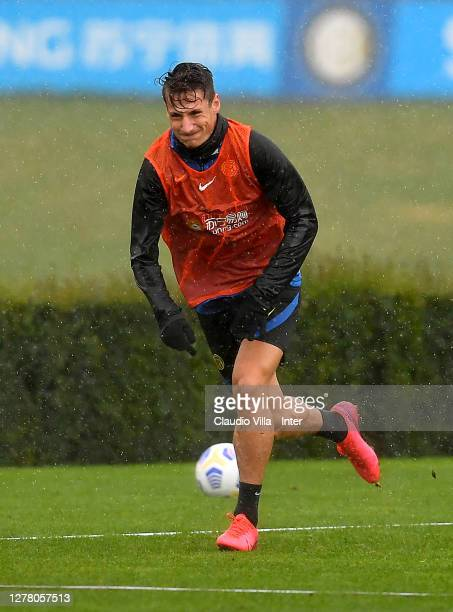Andrea Pinamonti runs on the pitch during an FC Internazionale training session at Appiano Gentile on October 02, 2020 in Como, Italy.