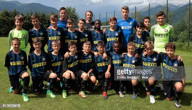 Andrea Pinamonti Zinho Vanheusden and Stefano Vecchi of FC Internazionale Milano during a meet and greet with the young players of Centri di...