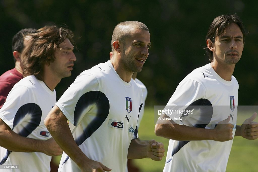 Andrea Pirlo, Alessandro Del Piero and Filippo Inzaghi run during an Italy National Football Team training session on July 01, 2006 in Duisburg, Germany.