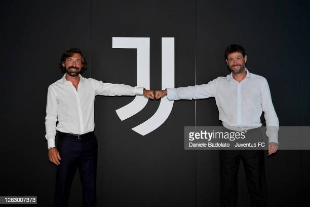 Andrea Pirlo and Andrea Agnelli during the signing of Andrea Pirlo as new U23 team coach at Allianz Stadium on July 31, 2020 in Turin, Italy.