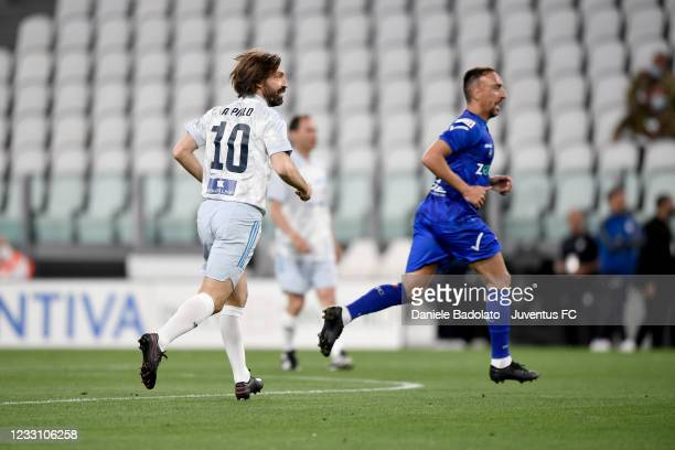 Andrea Pirlo and Franck Ribery during the 30th 'Partita Del Cuore' charity friendly match at Allianz Stadium on May 25, 2021 in Turin, Italy.