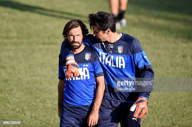 Andrea Pirlo and Gianluigi Buffon during an Italy training session at Coverciano on September 02 2015 in Florence Italy