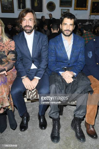 Andrea Pirlo and Marco Bocci are seen at the Etro fashion show on January 12 2020 in Milan Italy