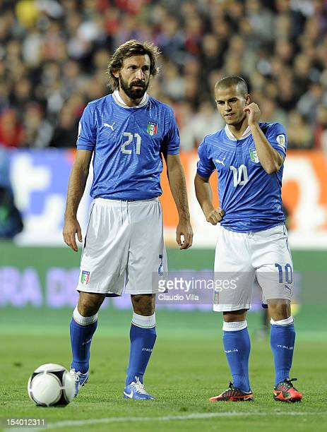 Andrea Pirlo and Sebastian Giovinco of Italy look on during the FIFA 2014 World Cup Qualifier group B match between Armenia and Italy at Hrazdan...