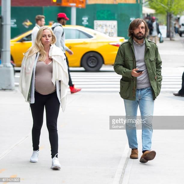 Andrea Pirlo and Valentina Baldini are seen in NoHo on April 24 2017 in New York City