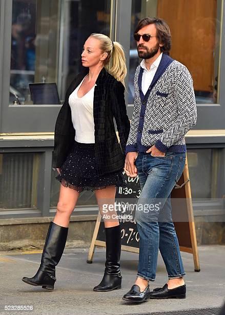 Andrea Pirlo and Valentina Baldini are seen in Soho on April 22 2016 in New York City