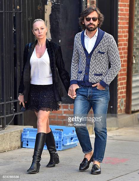 Andrea Pirlo and Valentina Baldini are seen in Soho on April 22 2016 in New York City