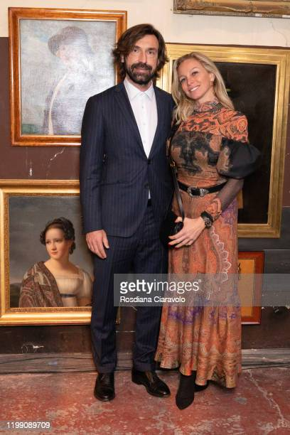 Andrea Pirlo and Valentina Baldini attend the Etro fashion show on January 12 2020 in Milan Italy