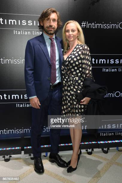 Andrea Pirlo and Valentina Baldini attend the Intimissimi Grand Opening on October 18 2017 in New York United States