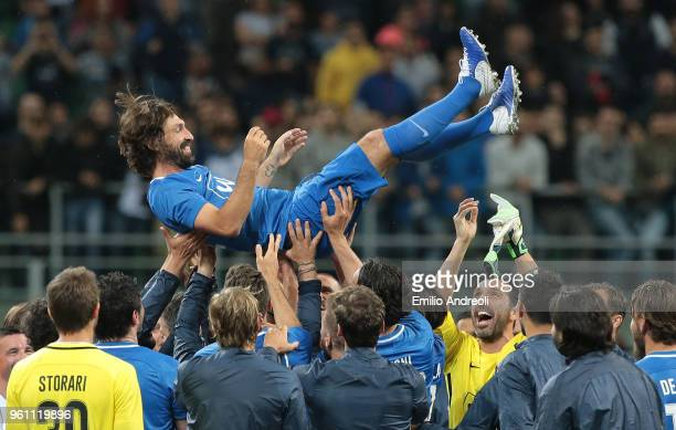 Andrea Pirlo celebrates with his team mates at the end of Andrea Pirlo Farewell Match at Stadio Giuseppe Meazza on May 21 2018 in Milan Italy
