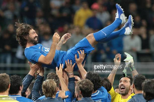 Andrea Pirlo celebrates with his teammates at the end of Andrea Pirlo Farewell Match at Stadio Giuseppe Meazza on May 21 2018 in Milan Italy