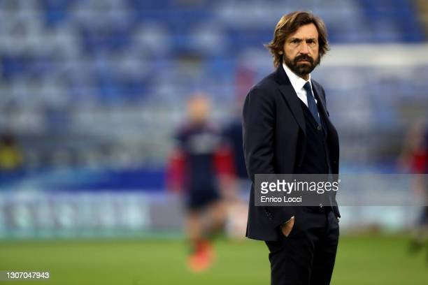 Andrea Pirlo coach of Juventus looks on during the Serie A match between Cagliari Calcio and Juventus at Sardegna Arena on March 14, 2021 in...
